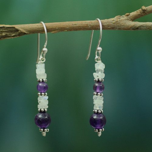 Amethyst and Rainbow Moonstone Dangle Earrings 'Morning Clouds'
