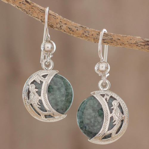 Hand Made Sterling Silver Dangle Jade Bird Earrings 'Quetzal Eclipse'