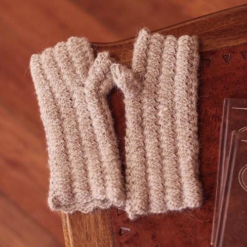 Alpaca Wool Fingerless Knit Gloves 'Mocha Winter'