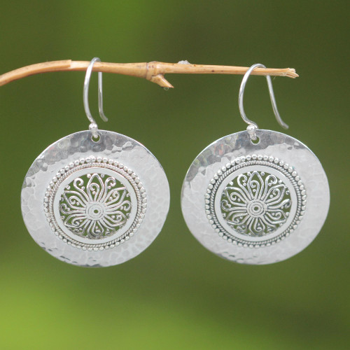 Floral Sterling Silver Dangle Earrings 'Starlight Bucklers'