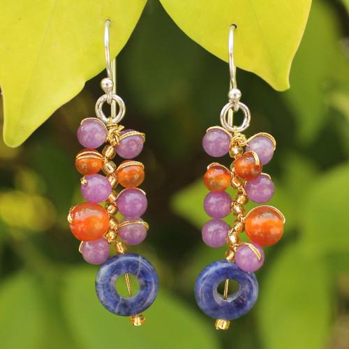 Unique Carnelian Cluster Earrings 'Radiant Color'