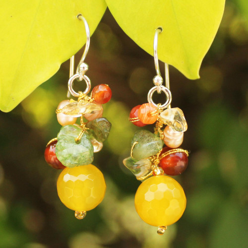 Hand Crafted Pearl and Quartz Beaded Earrings 'Sunshine Love'