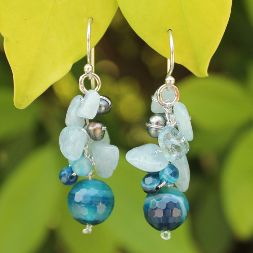 Unique Pearl and Aquamarine Cluster Earrings 'Blue Love'