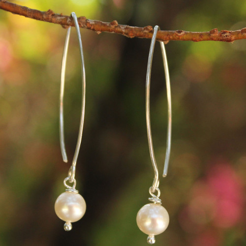 Pearl and Sterling Silver Dangle Earrings 'Precious White'