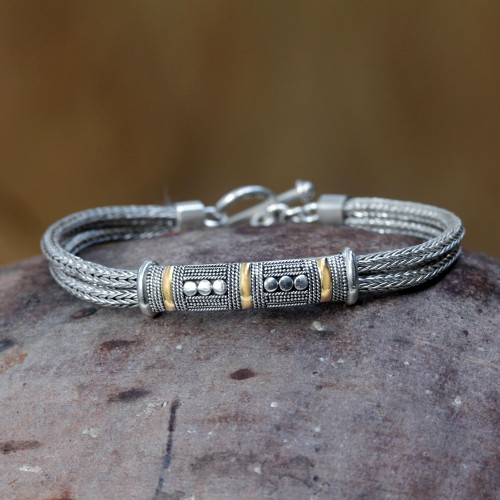 Handcrafted Gold Accent and Sterling Silver Bracelet 'Puri Naga'