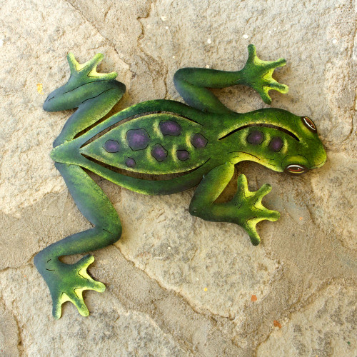 Unique Hand Painted Green Steel Wall Sculpture 'Mexican Tropical Frog'