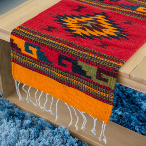 Zapotec wool rug 1.5x5 'Three Diamonds'