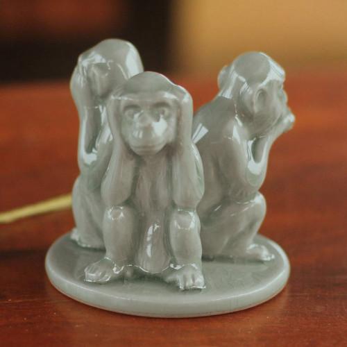 Artisan Crafted Ceramic Monkey Sculpture 'Green Monkeys Shun Evil'