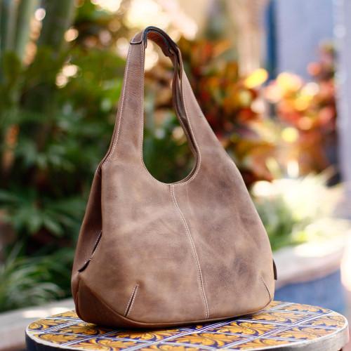 Women's Leather Hobo Handbag from Mexico 'Urban Caramel'