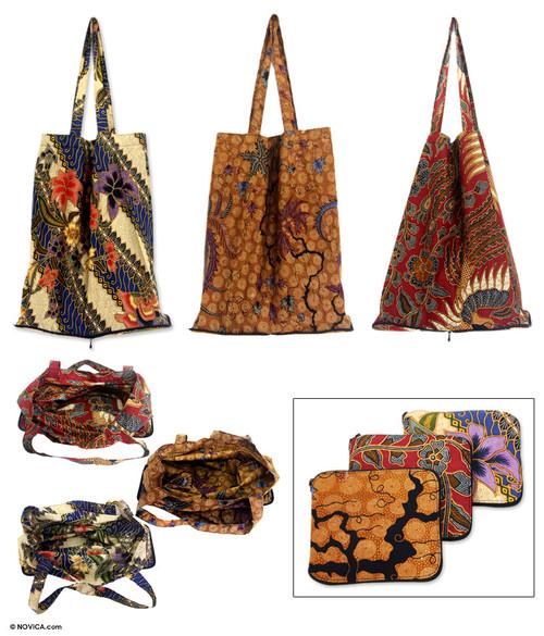 Batik Cotton Shopping Tote Bags Set of 3 'Jawadwipa Legacy'