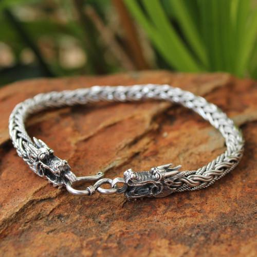 Men's Unique Sterling Silver Dragon Bracelet 'Powerful Nagas'