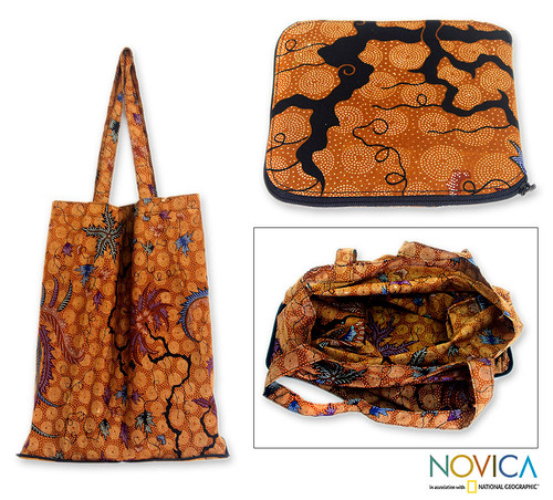 Hand Crafted Batik Cotton Foldable Shopping Tote Bag 'Madura Legacy'