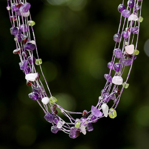 Thai Beaded Rose Quartz and Amethyst Necklace 'Lilac Mousse'