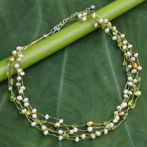 Pearl and Peridot Necklace 'Cloud Forest'