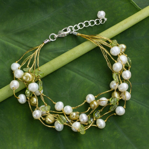 Artisan Crafted Peridot and Pearl Bracelet 'Cloud Forest'