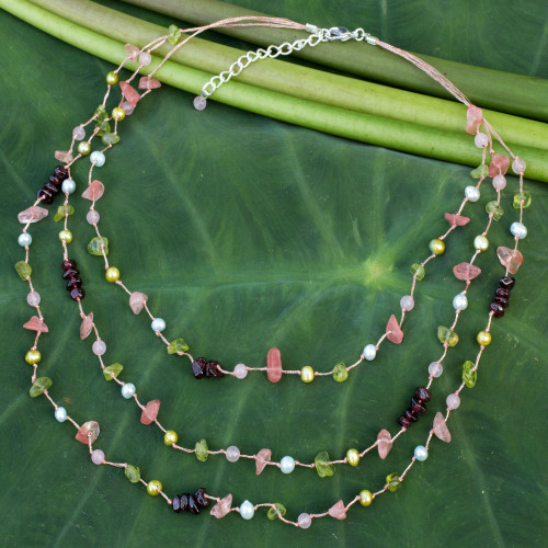 Pearls And Multi Gemstone Beaded Necklace 'Sweet Tropical'
