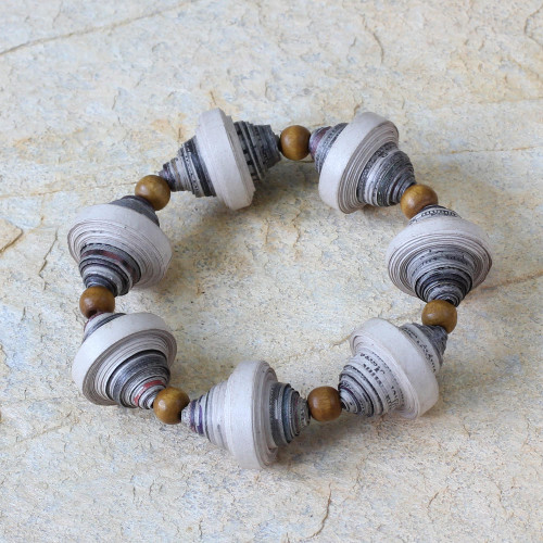 Handcrafted Modern Recycled Paper Beaded Bracelet 'Golden Dawn'