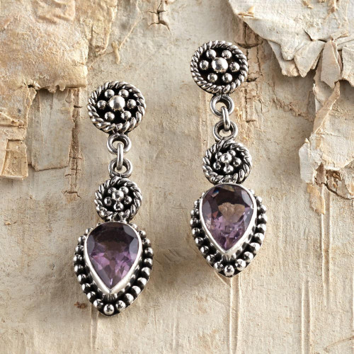 Sterling Silver and Amethyst Dangle Earrings 'Balinese Jackfruit'