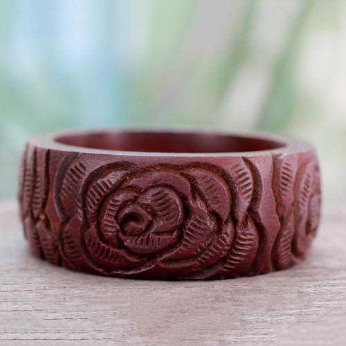 Wood bangle bracelet 'Brown Rose Blossom'