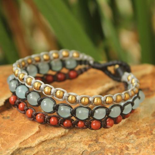 Brass Beaded Jasper and Quartz Bracelet 'Urban Colors'