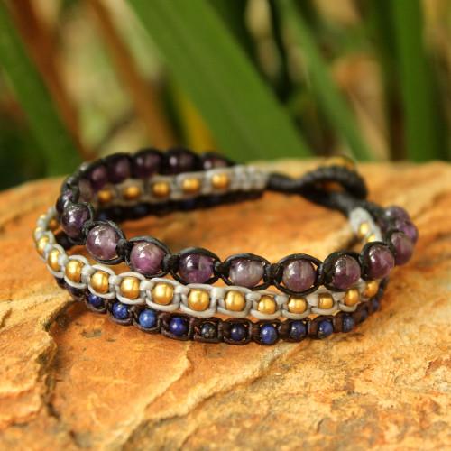 Amethyst and lapis lazuli beaded bracelet 'Urban Colors'
