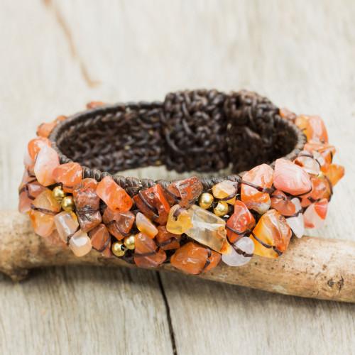 Artisan Crafted Carnelian Cuff Bracelet 'Sunny Day'