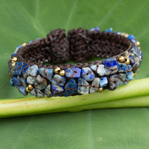 Fair Trade Lapis Lazuli Cuff Bracelet 'Ocean Day'
