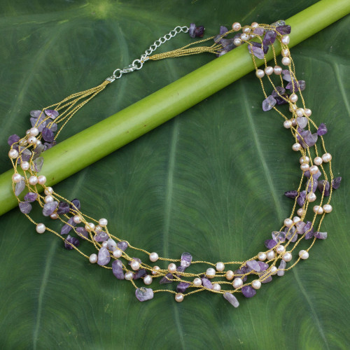 Beaded Amethyst and Pearl Necklace 'Afternoon Lilac'