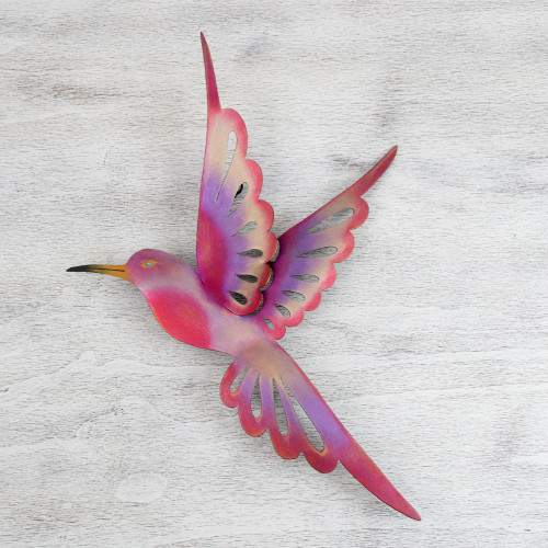 Bird-Themed Steel Wall Sculpture in Pink from Mexico Large 'Violet Hummingbird'