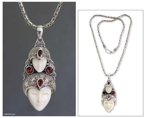 Hand Made Indonesian Silver and Garnet Necklace 'Royal Heir'