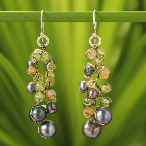 Pearl and Citrine Dangle Earrings 'Bright Passion'