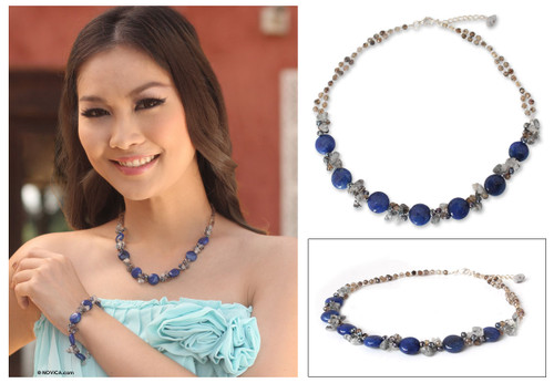 Beaded Quartz and Agate Necklace 'Blue Peonies'
