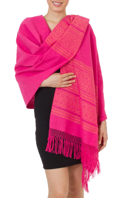Unique Hot Pink Cotton Patterned Shawl Handwoven in Mexico 'Hot Pink  Zapotec Treasures'