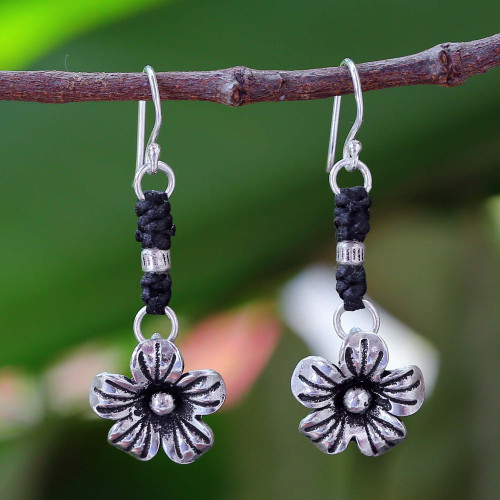 Fair Trade Hill Tribe Silver Dangle Earrings 'Tribal Blooms'