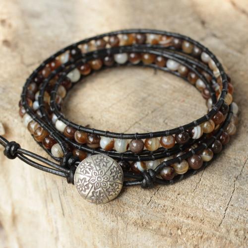 Agate wrap bracelet 'Forest Flower'