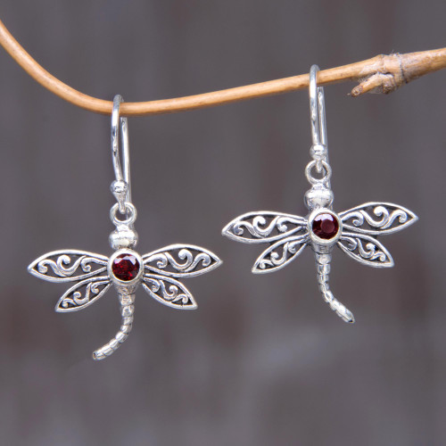 Handcrafted Indonesian Silver and Garnet Earrings 'Enchanted Dragonfly'