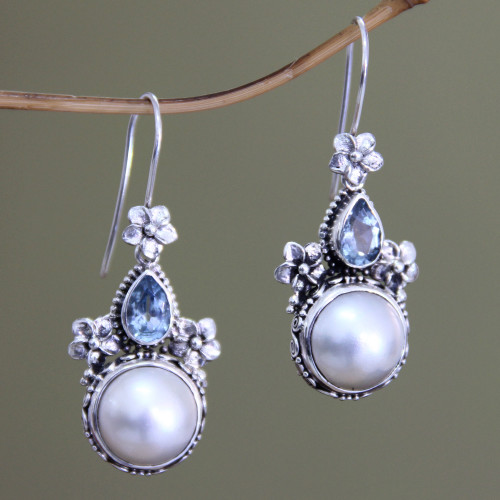 Sterling Silver Pearl and Blue Topaz Earrings from Bali 'Frangipani Trio'