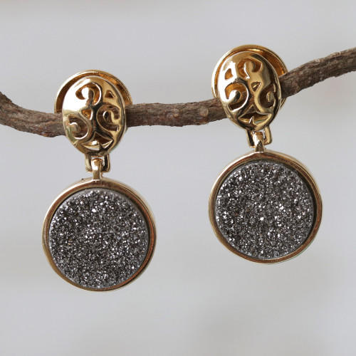 Gold Plated Drusy Dangle Earrings 'Sparkling Mirror'