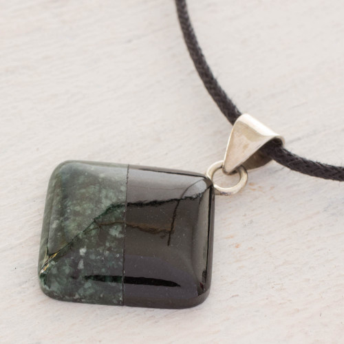 Cotton and Jade Pendant Necklace from Central America 'Duality'