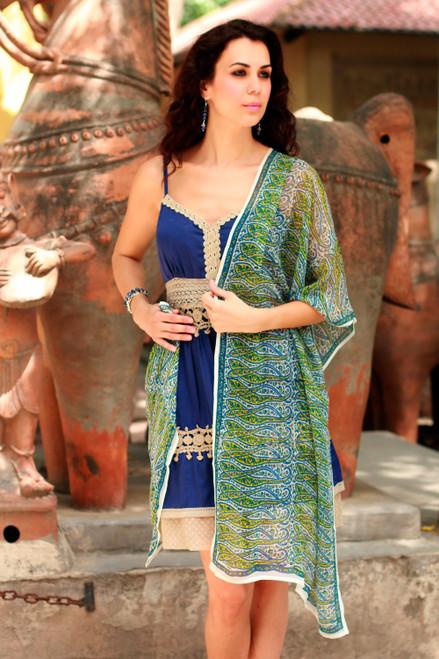 Silk shawl 'Paisley Intertwined'