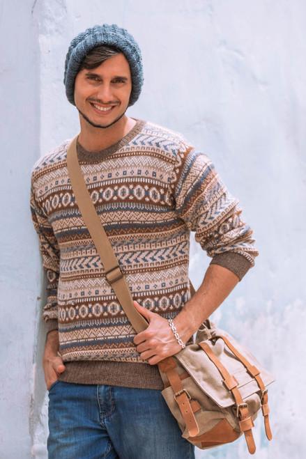 Men's Alpaca Pullover Sweater 'Ice Earth'