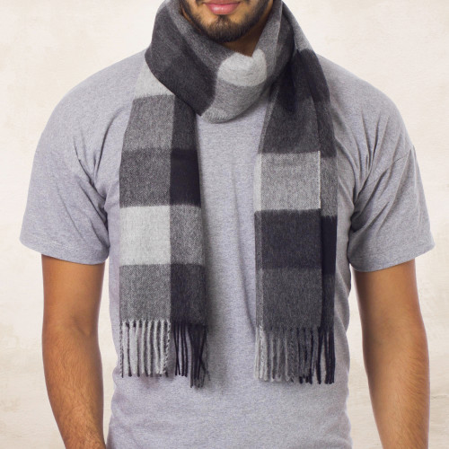 Hand Crafted Men's Alpaca Wool Patterned Scarf 'Gray Squared'