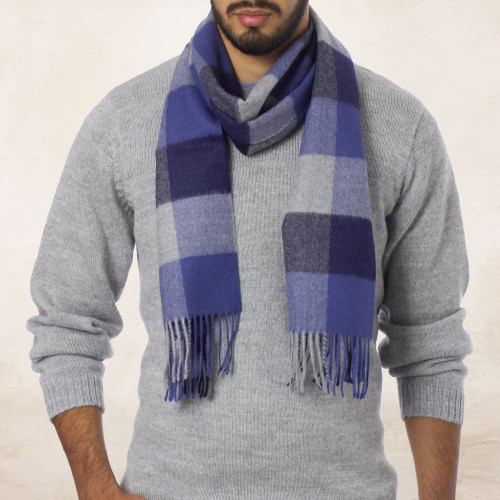 Alpaca Wool Patterned Scarf 'Blue Squared'