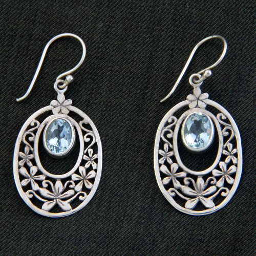 Hand Crafted Blue Topaz and Sterling Silver Dangle Earrings 'Jasmine Raindrops'