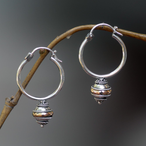 Silver and 18k Gold Hoop Earrings 'Reminisce'