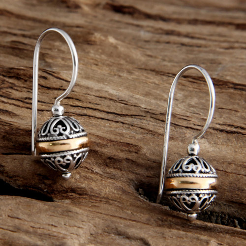 Sterling Silver and Gold Accent Dangle Earrings 'Lampion'