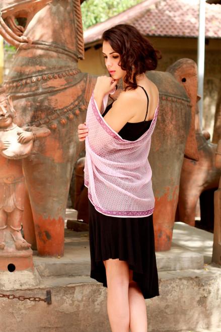 Silk shawl 'Pink Kolkata'