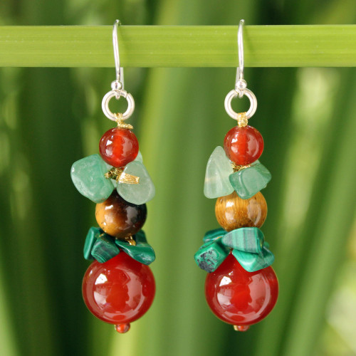 Beaded Carnelian Dangle Earrings 'Thai Harmony'