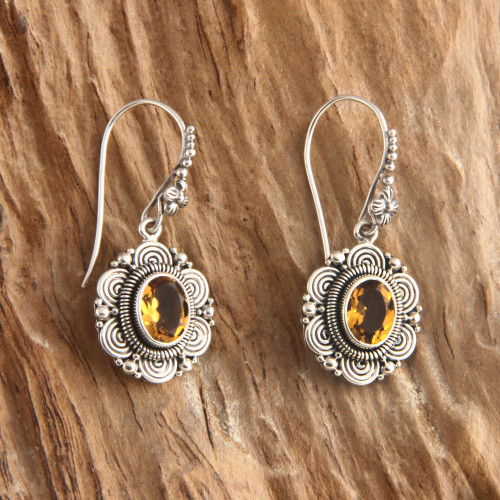 Floral Sterling Silver and Citrine Dangle Earrings 'Balinese Sunflower'