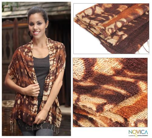 Hand Made Silk Scarf 'Earth Wilderness'
